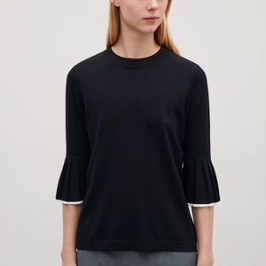 COS Knitted Top with Pleated Sleeves